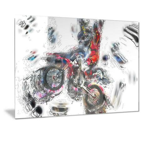Design Art Designart Moto Cross Sports Metal Wall Art