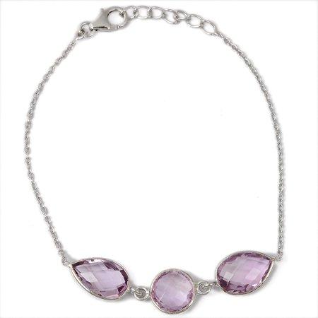 Orchid Jewelry Sterling Silver 10.00 Carat Genuine Pink Amethyst 3-Stone Handmade Bracelet