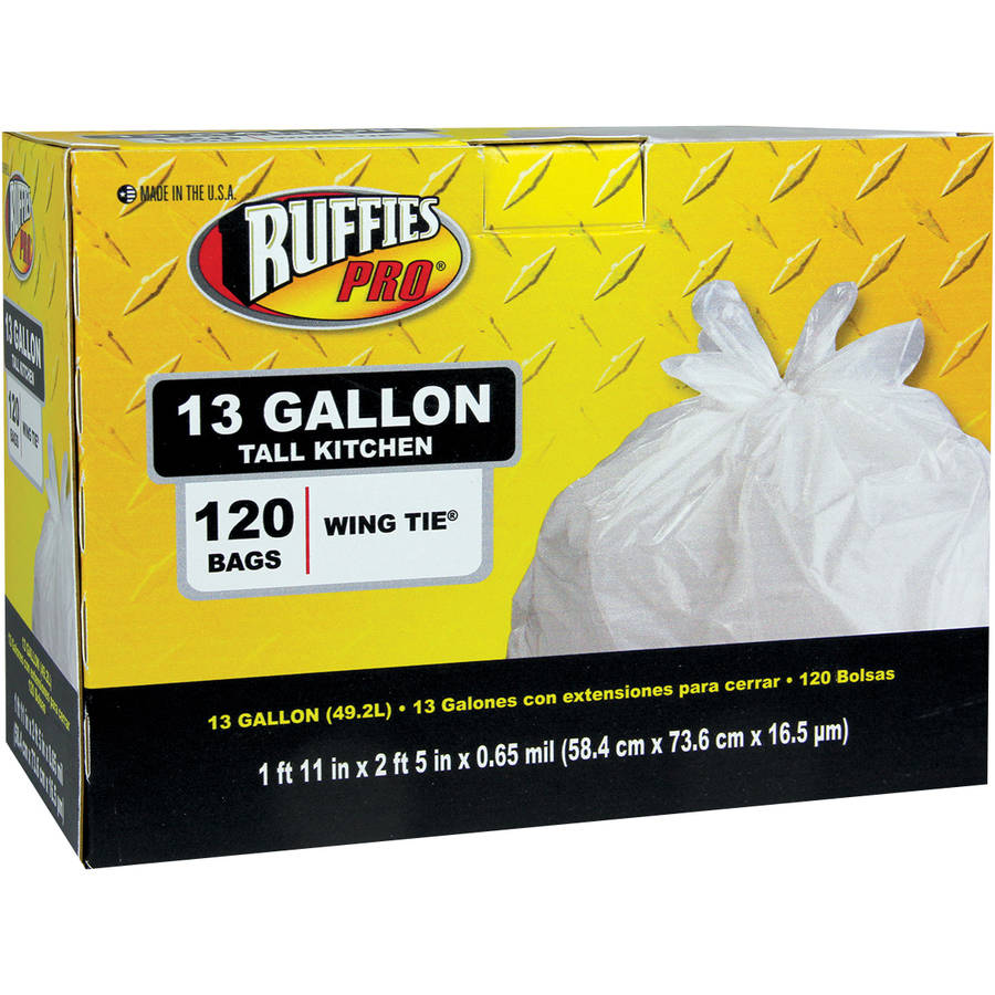 Ruffies Pro Tall Kitchen Wing Tie Trash Bags, 13 gal, 120 count