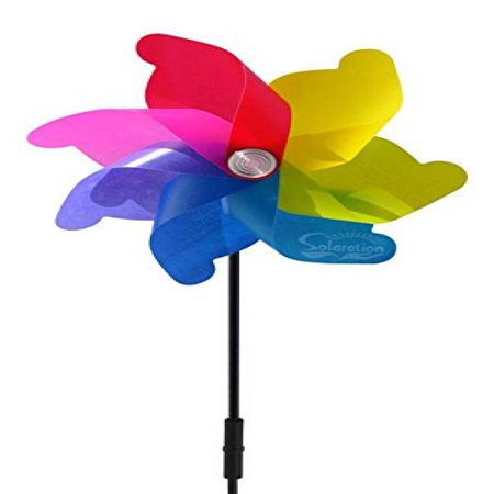 Solar Windmill - Solaration8482; Spring Color Windmill Spinner Solar Light