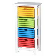 Sturdy 4-Tier Wooden Storage Cabinet ,White