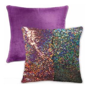 "Mainstays Laser Pink to Silver Reversible 17"" x 17"" Sparkle Pillow"