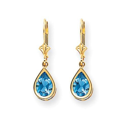 14k Yellow Gold 1.0IN Long 9x6mm Pear Blue Topaz leverback Earrings by Jewelrypot