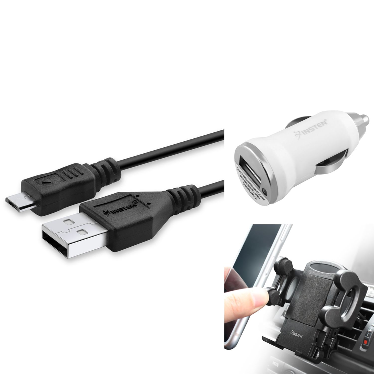 Car Accessories Bundle by Insten Micro USB Charging Cable & Air Vent Phone Holdr Mount & White Car Charger Adapter for Android Cell Phone Smartphone Mobile Universal