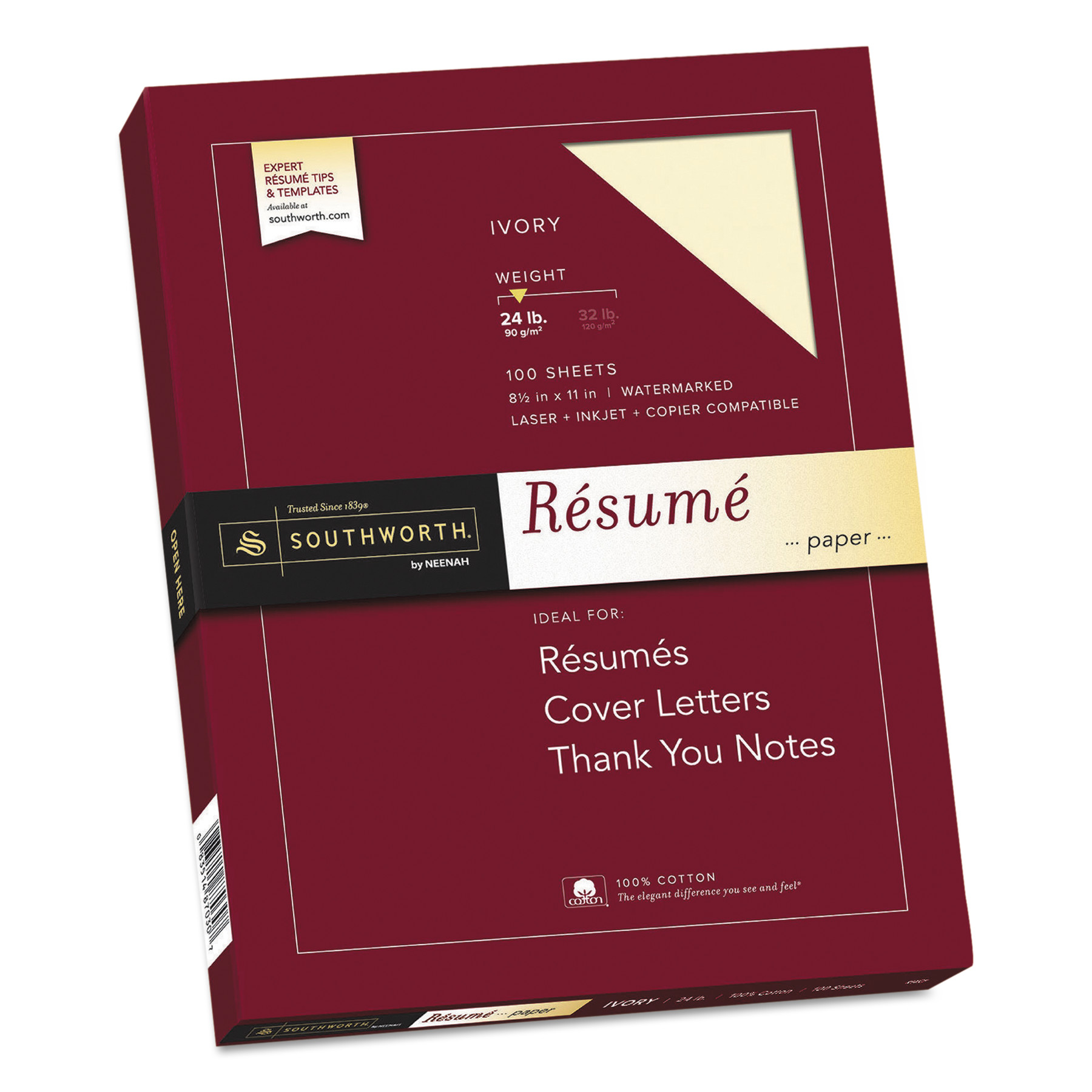 Charming Southworth 100% Cotton Resume Paper, Ivory, 24lb, 8 1/2 X