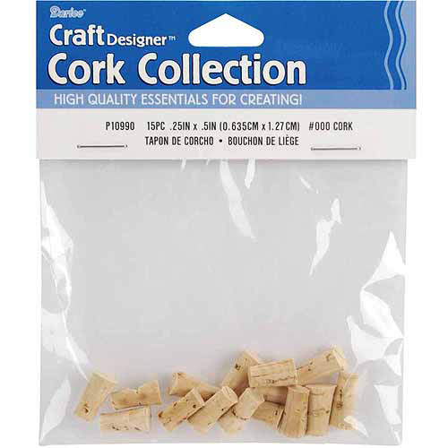"Cork Collection Stoppers, 0.25"" x 0.5"", 15/Pkg"