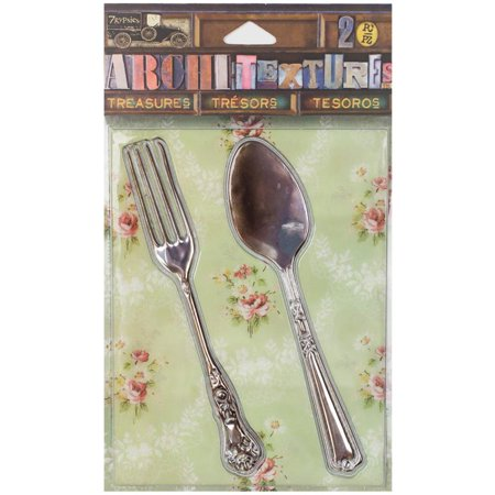 7 Gypsies Architextures Treasures Adhesive Embellishments-tarnished Silver Fork & Spoon 4