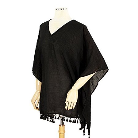 Crinkled Womens Jacket - StylesILove Women's Crinkled Sweater Poncho - Black