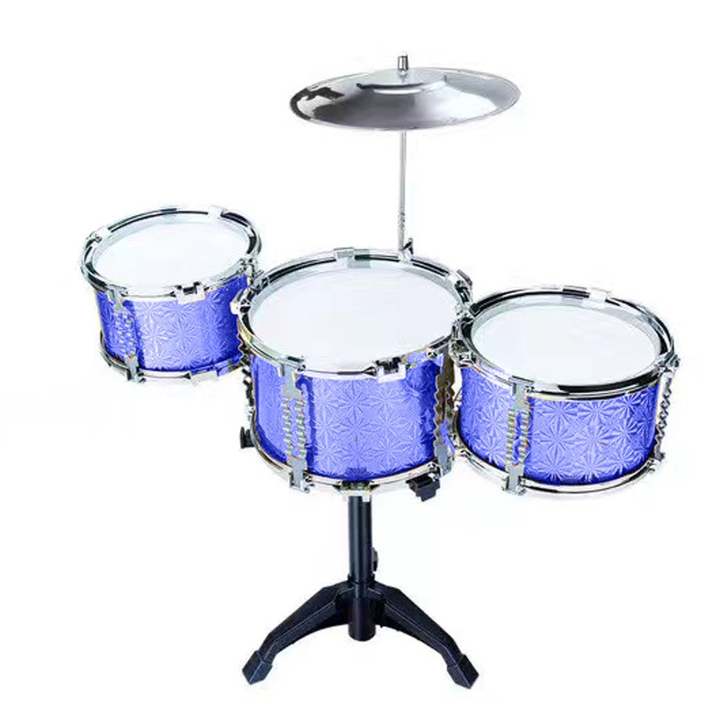 Toytexx Toy Drum Play Set/ Jazz Drum Set with Stool 18pcs-Blue Color