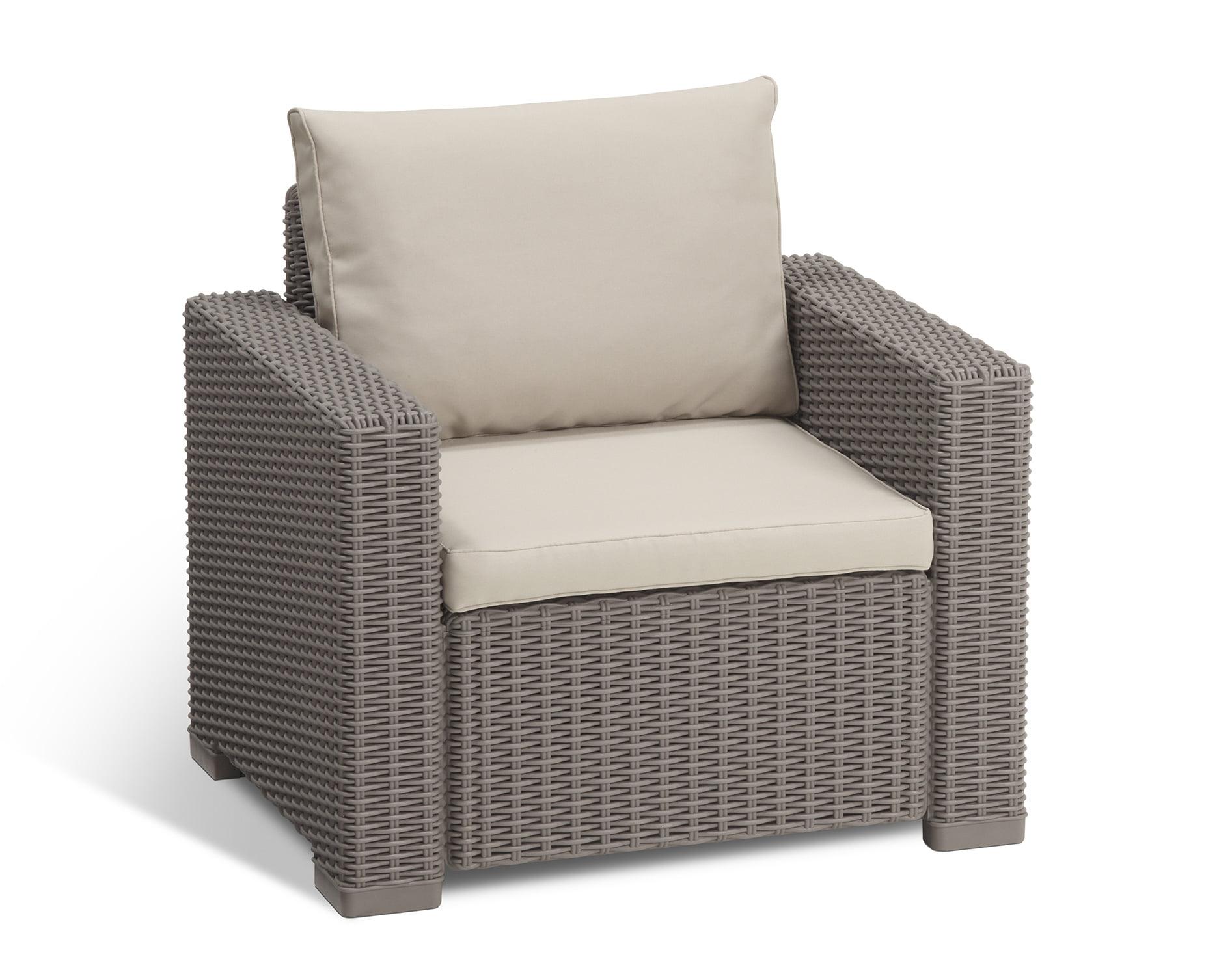 California Backyard Patio Furniture.Keter California Outdoor Seating Patio Chair In Plastic Resin Rattan Wicker With Cushions Cappuccino