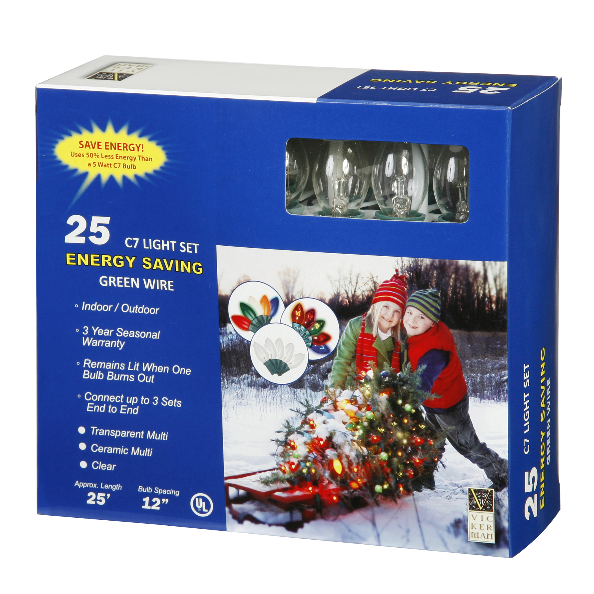 """Vickerman 25 Light C7 Clear Twinkle End Connecting Set 12"""" Bulb Spacing 25' Long"""
