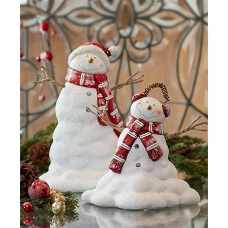 """Set of 2 Red and White Melting Snowman Christmas Tabletop Figures 12"""" - Melted Snowman"""