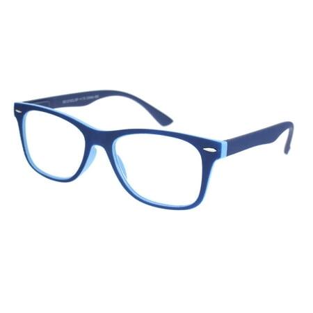 Matte Rubberized Hipster Horn Rim Spring Hinge Reading Glasses Blue (Green Hipster Glasses)