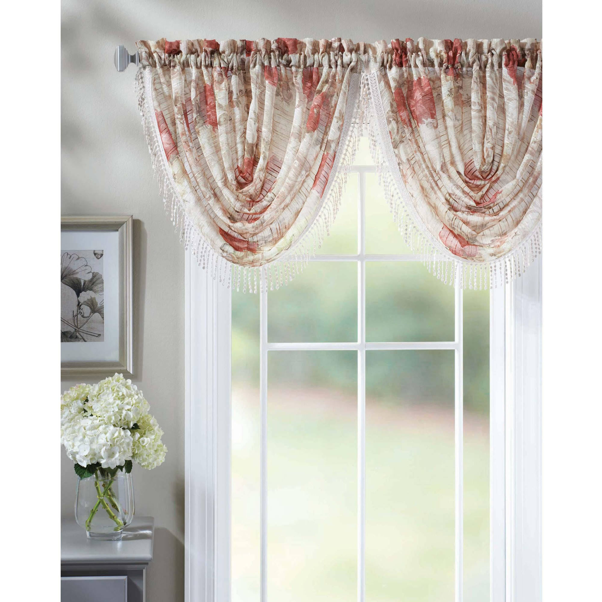 Better Homes and Gardens Roses Waterfall Valance by