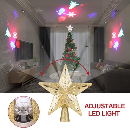 Onever Christmas Tree Top Light Star Shape Adjustable Led Snowstorm Snowman Stripe Rgb Projector Lights Christmas Decoration Silver Gold Walmart Canada