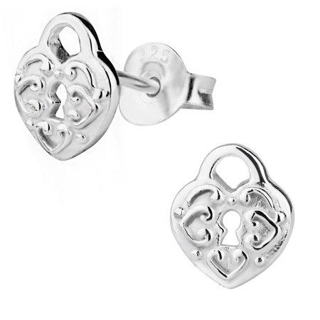 Hypoallergenic Sterling Silver Engraved Heart Lock Stud Earrings For Kids Nickel Free