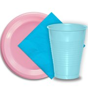 """50 Pink Plastic Plates (9""""), 50 Light Blue Plastic Cups (12 oz.), and 50 Aqua Paper Napkins, Dazzelling Colored Disposable Party Supplies Tableware Set for Fifty Guests."""