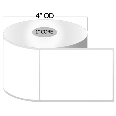 """OfficeSmartLabels 4"""" x 5"""" Direct Thermal Labels, Zebra Compatible Labels (1 Roll, 300 Labels Per Roll, 1 inch Core, White, 4"""" Diameter, Perforated)"""
