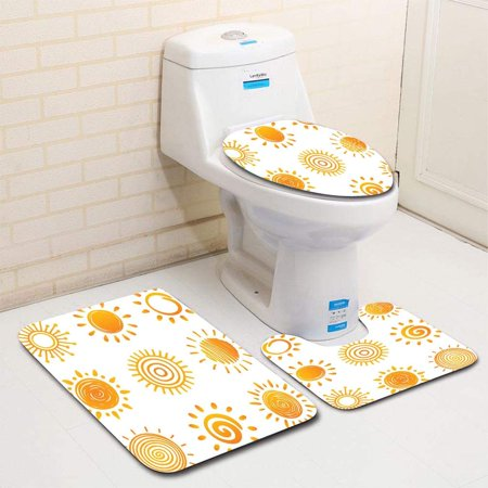 XDDJA Sun 3 Piece Bathroom Rugs Set Bath Rug Contour Mat and Toilet Lid Cover - image 1 de 2