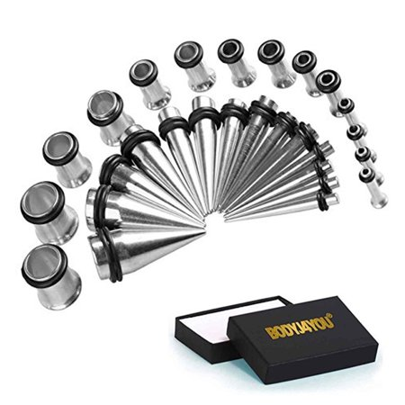 BodyJ4You Gauges Kit 16 Pairs Surgical Steel Tapers & Tunnels 14G 12 G10G 8G 6G 4G 2G 0G 32 Pieces by