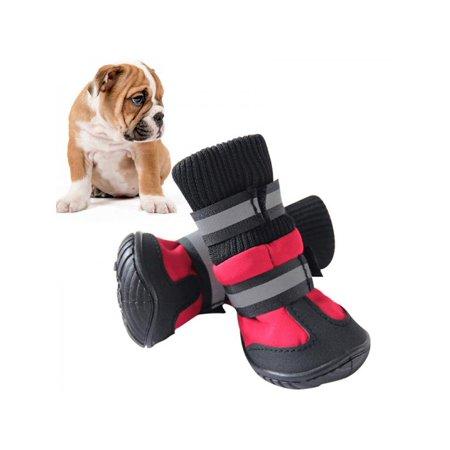 Lavaport 4PCS Dog Waterproof Shoes Winter Anti-Slip Pet Snow Boots Warm Puppy Booties (Dog Booties Hardwood Floors)