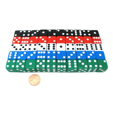 Koplow Games Set of 50 Six Sided Square Opaque 16mm D6 Dice - Red White Blue Green Black #019xx