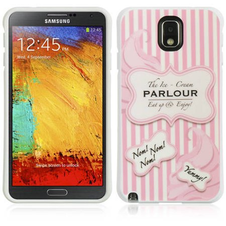 Mundaze Samsung Galaxy Note 3 TPU Cute Pink Stripe Ice Cream Parlor Phone Case