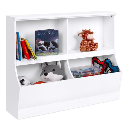 Best Choice Products Multipurpose 2-Shelf & 2-Cubby Kids Wooden Storage Organizer Cabinet, Childrens Furniture for Books, Toys, Shoes with Wall