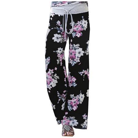 Women's Summer Casual Pajama Pants Floral Print Drawstring Palazzo Lounge Pants Wide Leg Black, XX-Large Casual Lounging Pant Set