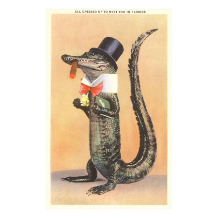 Alligator in Top Hat Laminated Print Wall Art