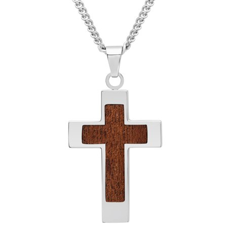 Silver Turquoise Inlay Pendant (Men's Stainless Steel Wood Grain Carbon Fiber Inlay Cross Pendant Necklace Chain)