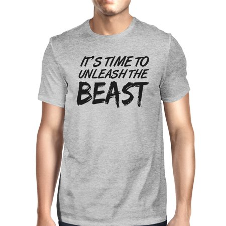 - Unleash Beast Mens Grey Round Neck Cotton T-Shirt Funny Workout Top