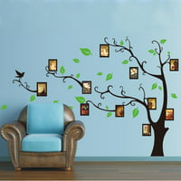 M.way Large Family Tree Wall Decal Mural  Peel & stick vinyl sheet, history decor mural for home, bedroom stencil decoration. DIY Photo Gallery Frame Decor Sticker Christmas