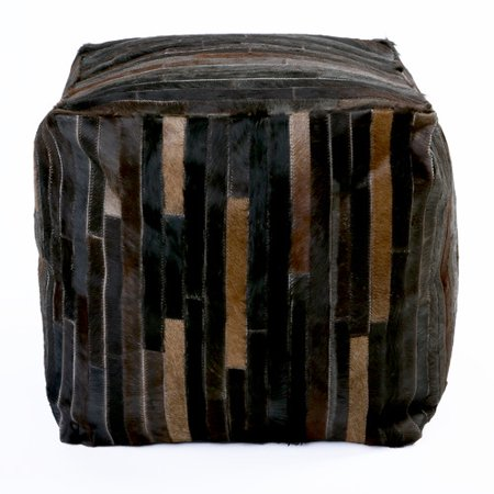 Admirable Best Home Fashion Inc Patchwork Leather Pouf Creativecarmelina Interior Chair Design Creativecarmelinacom