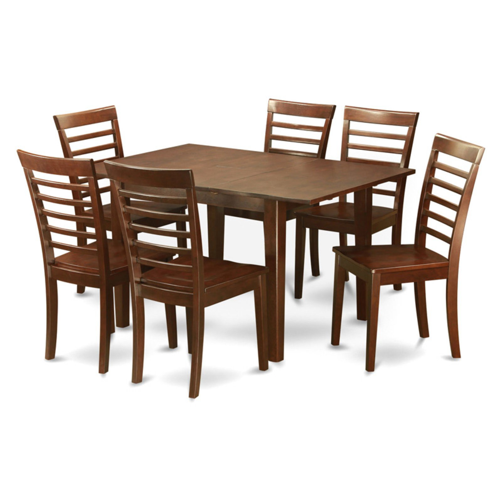 East West Furniture Milan 7 Piece Small Space Rectangular Dining Table Set