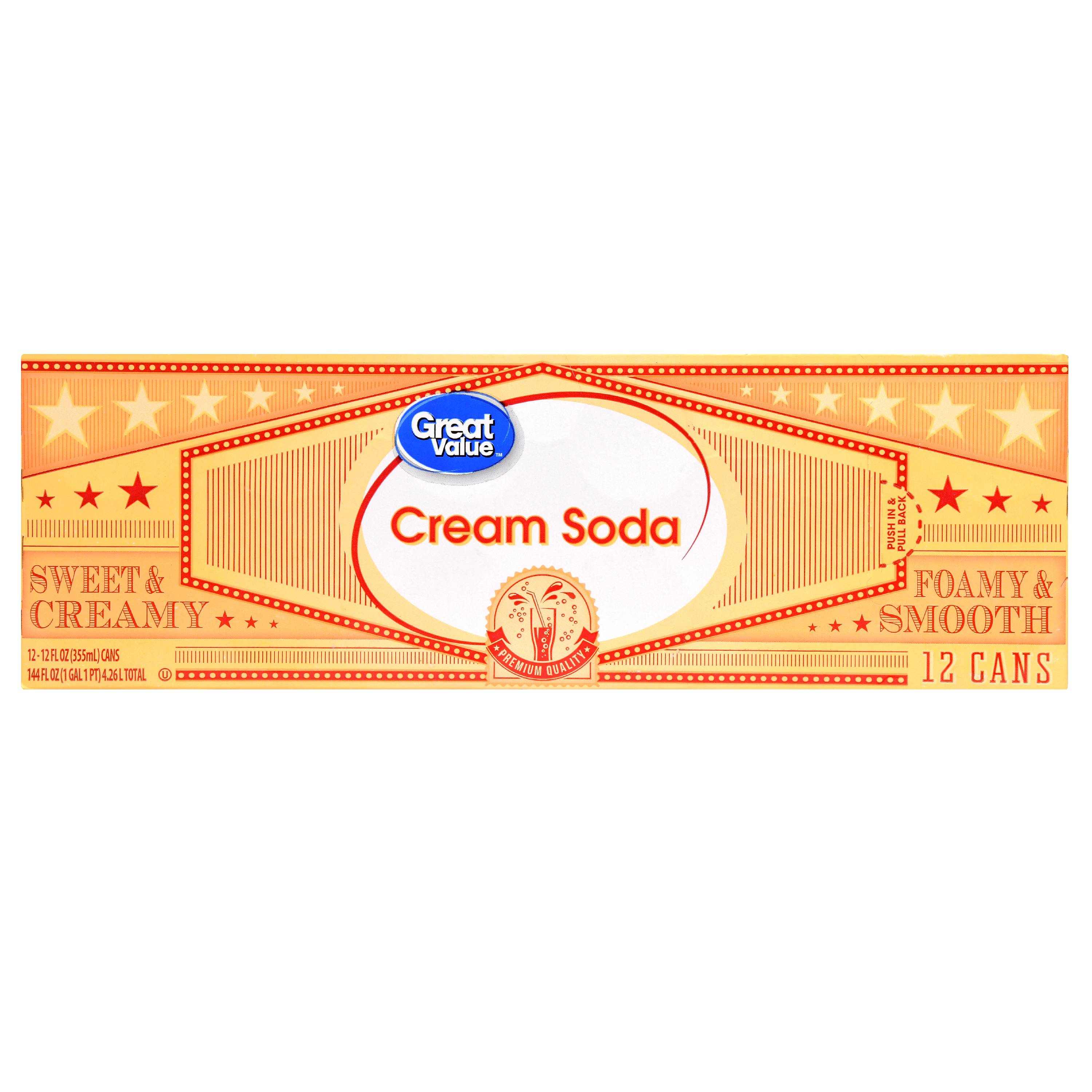 (2 Pack)Great Value Cream Soda, 144 fl oz, 12 Pack