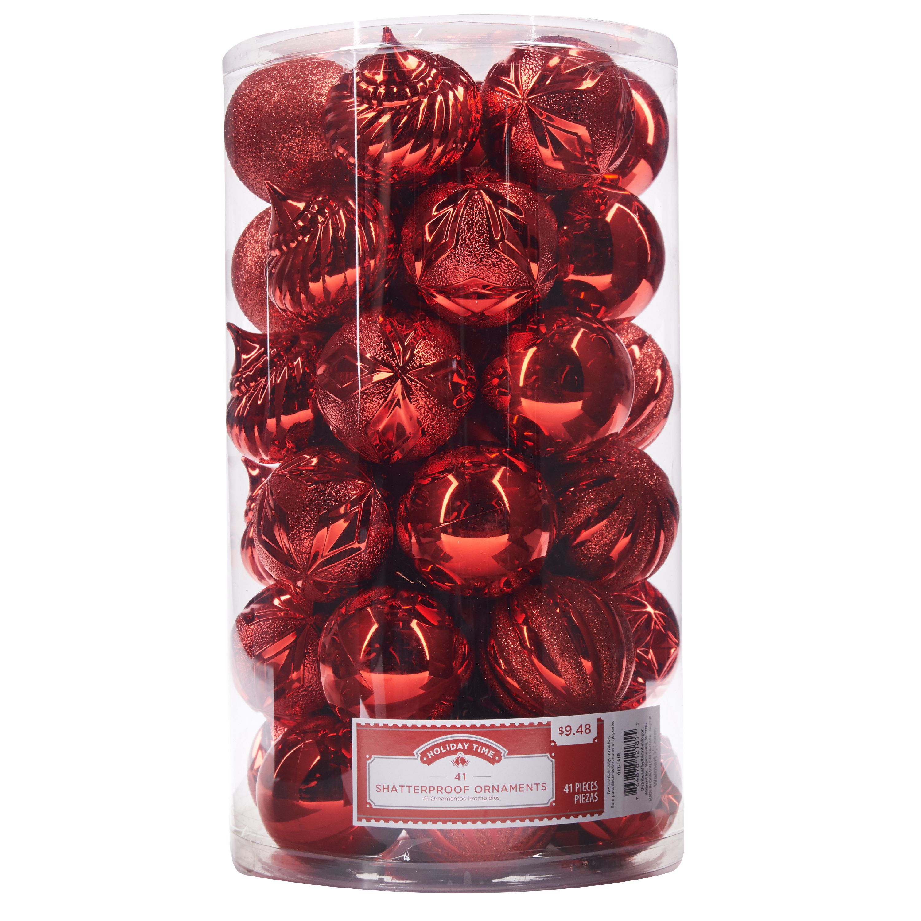 Holiday Time Shatterproof Ornaments, Red, 41 Count