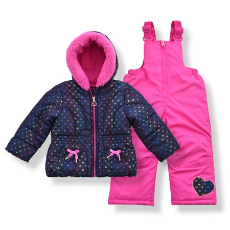 Arctic Quest Girl's Foil Heart Puffer Jacket and Bib Snowsuit Set - Size 3T, Navy/Pink Ski Snowboard Suit
