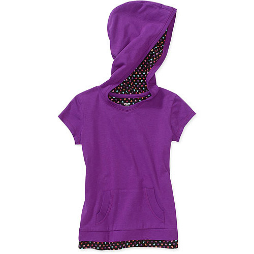 Faded Glory Girls' Short Sleeve V-Neck Hoodie Tee