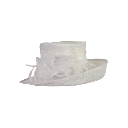 Fine Millinery Women's Georgette Feather Sequined Mesh - Pimp Hat With Feather