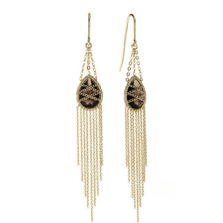 18kt Gold over Sterling Silver Hand-Wrapped Drape Chain Hanging Teardrop Smokey Quartz Stone Earrings ()
