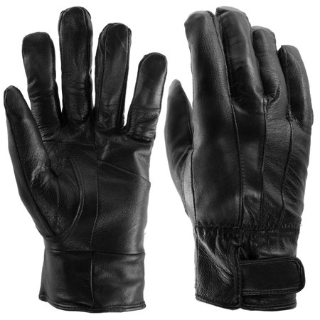Sole Trends  1 Pair  Insulated Genuine Leather Gloves For Men Black Warm Light Fleece Lining Winter
