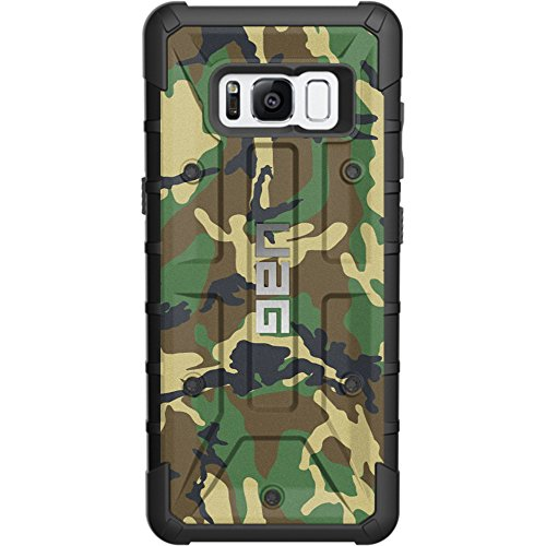 """LIMITED EDITION- Customized Designs by Ego Tactical over a UAG- Urban Armor Gear Case for Samsung Galaxy S8 PLUS/S8+ (Larger 6.2"""")- Woodlands Green/Brown Camouflage"""