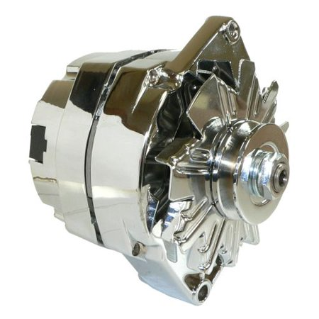 New Db Electrical Adr0335-C High Output Delco 10SI 105 Amp One 1-Wire Chrome Alternator For General Motors, Bbc Sbc Chevy, Street Rod Gm