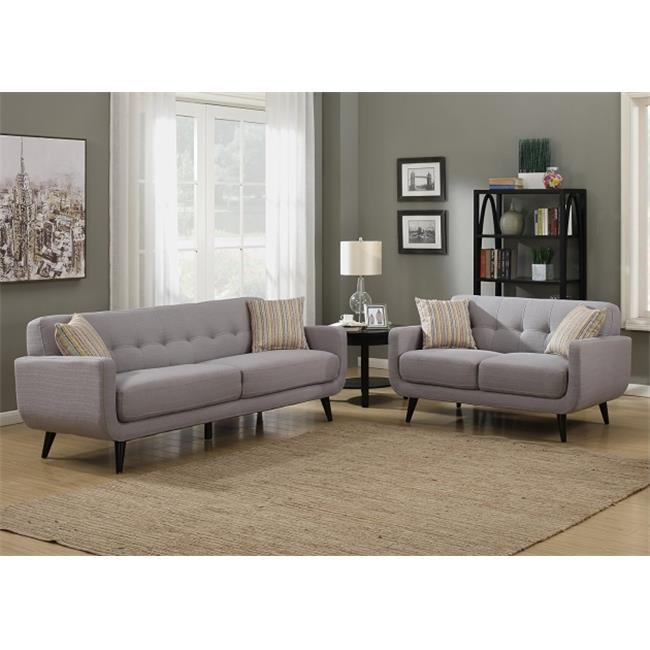 AC Pacific CRYSTAL-GRAY-2PC-SET Crystal Gray 2 Piece Sofa & Love Seat Living Room Set