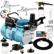 Master Airbrush Cool Runner II Dual Fan Air Compressor Pro System Kit, 3 Airbrush Sets, Gravity and Siphon Feed - Holder