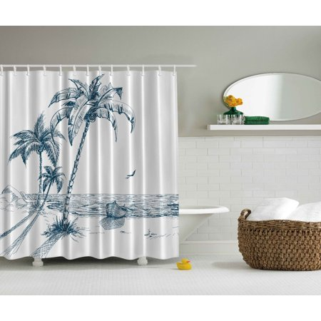 Palm Desert Shower Curtain - Palms Nautical Beach Tropical Wood Boat Ocean Waves Desert Island Shower Curtain