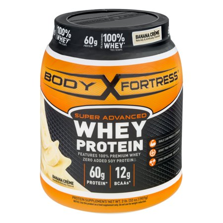 - Body Fortress Super Advanced Whey Protein, Banana Creme, 60g Protein, 2 Lb