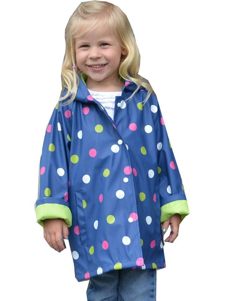 Foxfire Little Girls Navy Shiny Polka Dotted Print Trendy Raincoat 1T-6