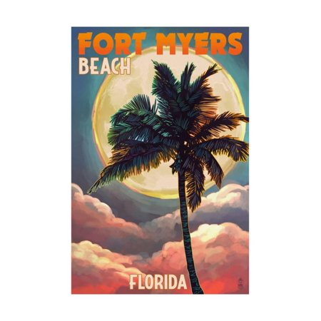 Fort Myers Beach, Florida - Palms and Moon Sunset Print Wall Art By Lantern Press